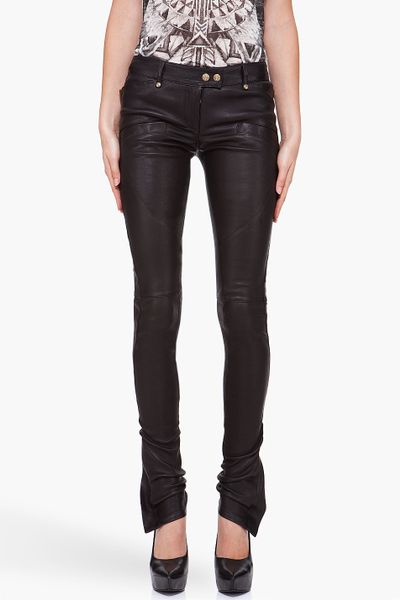 Balmain Leather Front Pocket Pants in Black - Lyst
