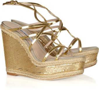 Brian Atwood Jourdan Chainmailcovered Rope Wedge Sandals - Lyst