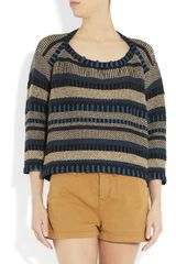 Burberry Prorsum Striped Woven Cottonblend Sweater - Lyst