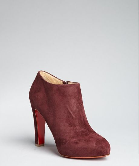 christian louboutin bordeaux suede vicky booty 120 ankle boots in brown bordeaux lyst. Black Bedroom Furniture Sets. Home Design Ideas