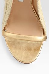 Diane Von Furstenberg Metallic Leather Espadrille Wedge Sandals in Gold - Lyst