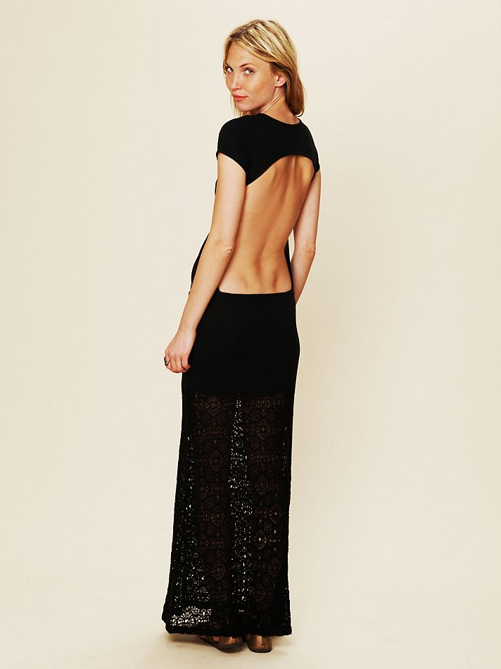free people dreamcatcher open back maxi dress in black | lyst