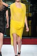 Helmut Lang Twist Front Skirt in Yellow - Lyst