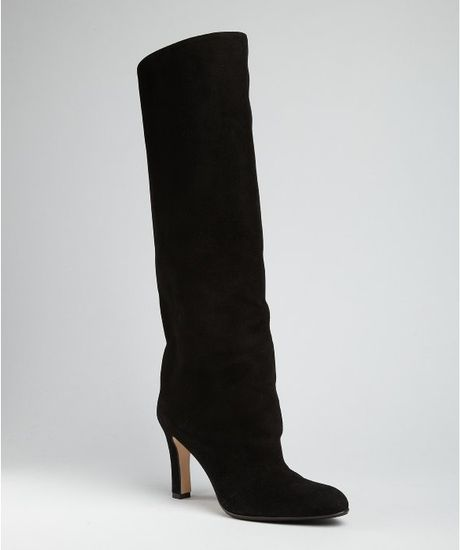 Manolo Blahnik Black Suede Slip On Khomo Tall Boots in Black - Lyst