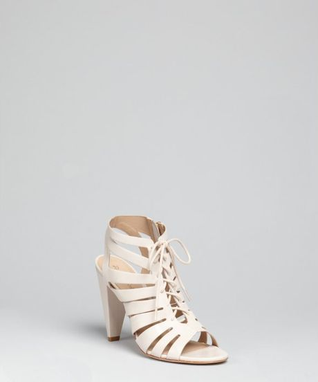 Pour La Victoire Taupe Leather Cora Laceup Caged Sandals in Beige (taupe) - Lyst