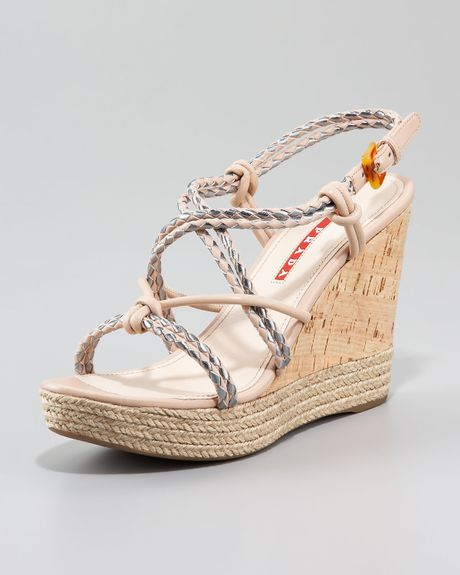7474a465f Prada Braided Rope Wedge Sandal in Beige (pink)