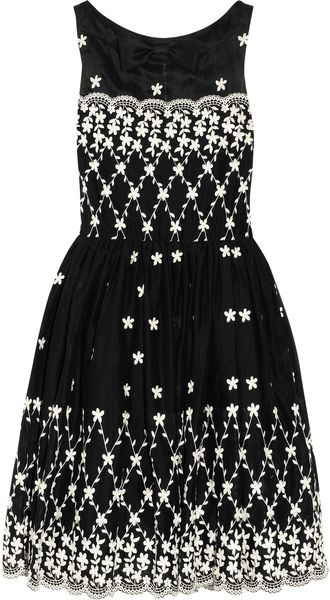 RED Valentino Embroidered Cotton Dress - Lyst