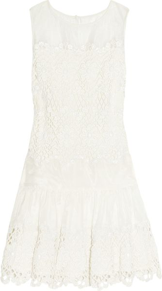 Red Valentino Embellished Macramé Dress in Beige (white) - Lyst