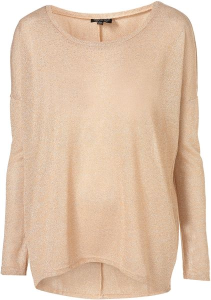 Topshop Oversized Lurex Sweat in Pink (peach) - Lyst
