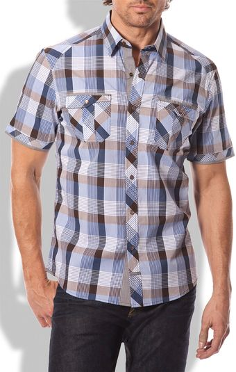 7 Diamonds Crystal Blue Plaid Woven Shirt - Lyst
