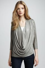 Alice + Olivia Metallic Draped Top - Lyst