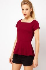 Asos Collection Asos Top with Square Neck and Peplum in Red - Lyst