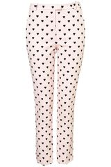Topshop Heart Flock Trousers - Lyst