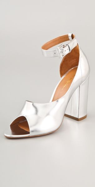 3.1 Phillip Lim Cody Open Toe Pump in Silver - Lyst