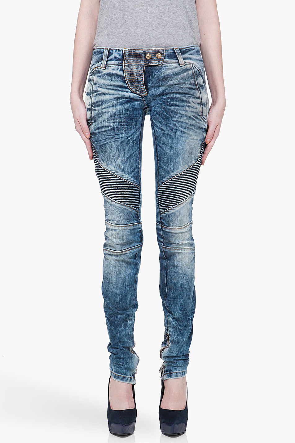 Balmain High-rise Skinny Jeans - Balmain's high-rise skinny jeans are cut from blue stretch-cotton denim. Sits above waist. Sits above waist. Slim through hips and thighs.