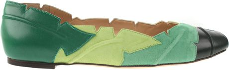 Charlotte Olympia Palma Ballerina Shoes in Multicolored Suede and Black Leather in Green (multicolored) - Lyst