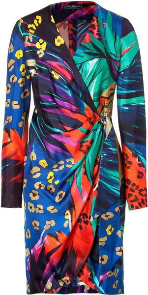 Ferragamo Multicolor Printed Wrap Dress - Lyst