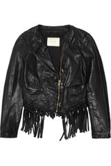 Maje Lemmy Cropped Fringed Leather Jacket in Black - Lyst