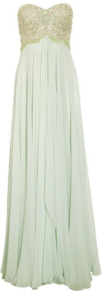 Marchesa Beaded Silk Chiffon Gown - Lyst