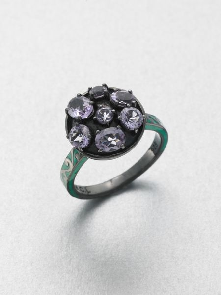 M.c.l By Matthew Campbell Laurenza Enamel Accented Amethyst Ring in Purple (multi) - Lyst