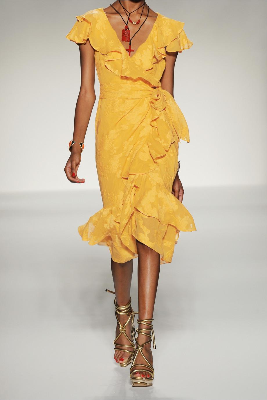 Moschino Ruffled Georgettejacquard Wrap Dress In Yellow Lyst