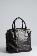 Prada Black Nappa Leather Convertible Satchel - Lyst