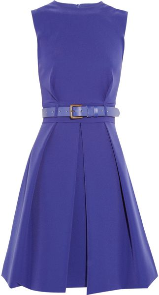 Preen By Thorton Bregazzi Grace Pleated Stretchcrepe Dress in Purple