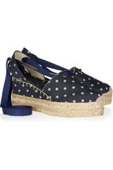 Ralph Lauren Collection Uma Polka Dot Canvas and Rope Espadrilles - Lyst
