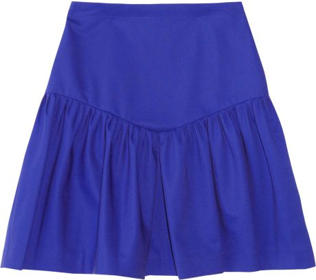 Sandro Journaliste Ruffled Cottonblend Skirt in Blue - Lyst