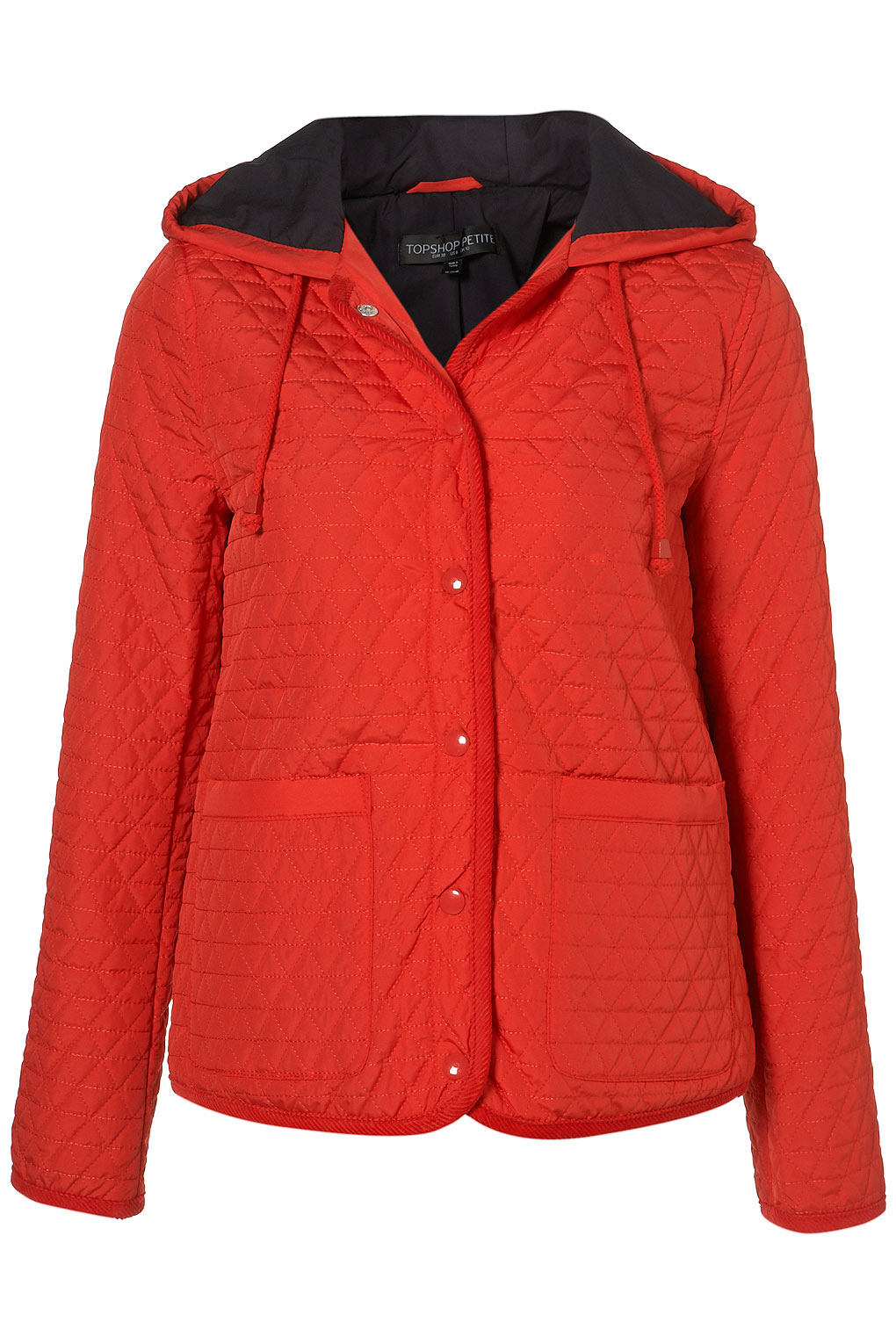 Topshop Petite Hooded Quilted Jacket In Red Lyst