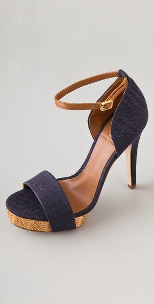 Tory Burch Amina High Heel Sandals In Blue Navy Lyst