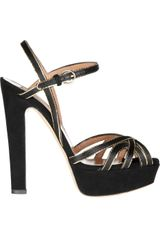 Valentino Chaintrimmed Suede Sandals in Black - Lyst