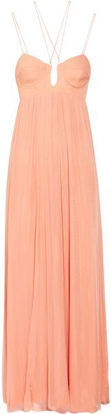 Willow Stretch Silk and Tulle Maxi Dress - Lyst
