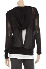 Alexander Wang Hooded Mesh Top in Black - Lyst