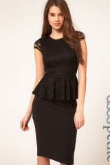Asos Petite Exclusive Lace Peplum Top in Black - Lyst