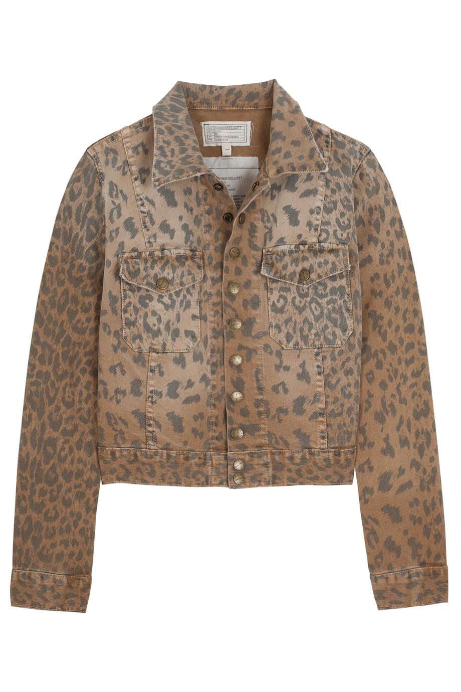 Current/elliott Snap Leopard Print Denim Jacket in Animal ...