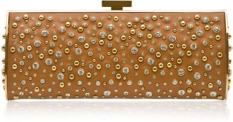 Elie Saab Long Structured Leather and Crystal Clutch in Brown - Lyst