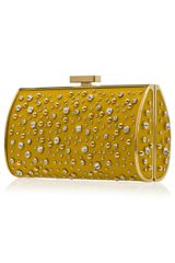 Elie Saab Structured Leather and Crystal Clutch in Gold - Lyst