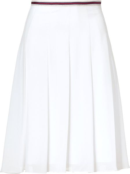 l agence white pleated skirt in white lyst