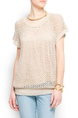 Mango Short Sleeves Openwork Jumper - Lyst