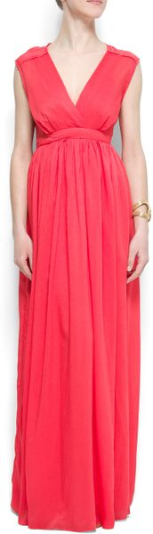 Mango VNeck Gown in Red (7a) - Lyst