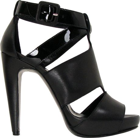Pierre Hardy Soft Calf and Patent Leather Sandal in Black in Black - Lyst