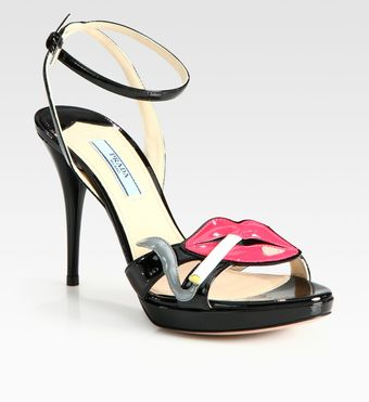 Prada Patent Leather Lip Platform Sandals - Lyst