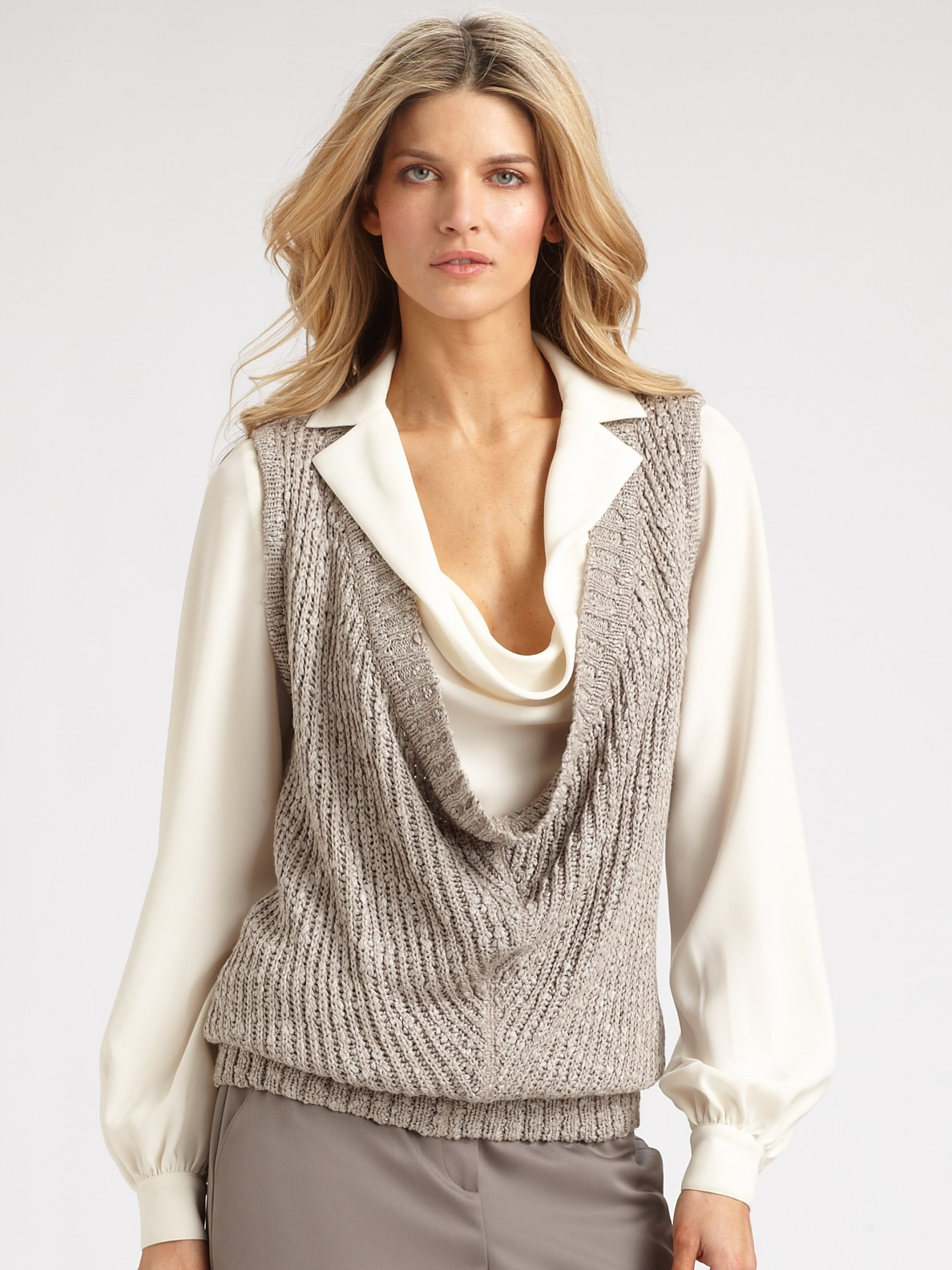 St. john Cowl Neck Sleeveless Sweater in Gray | Lyst