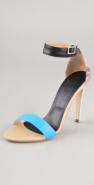 Tibi Amber Snake High Heel Sandals in Blue (sky) - Lyst
