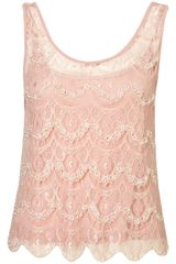 Topshop Scallop Lace Embellished Top - Lyst