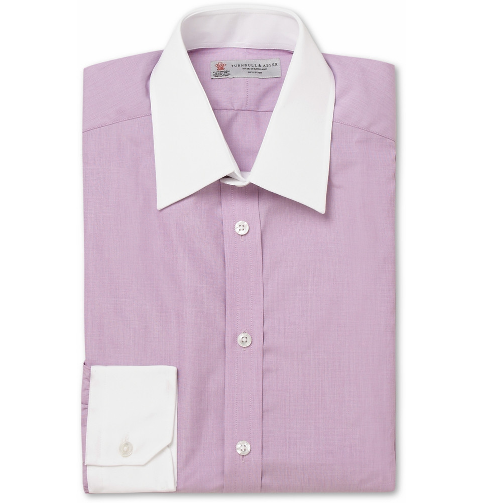 turnbull asser contrast collar and cuff cotton shirt in