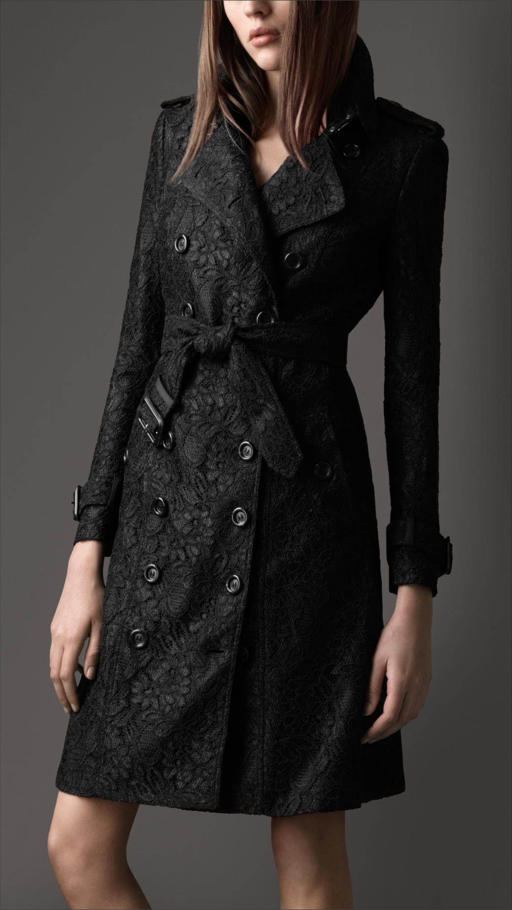 Lyst Burberry Long Lace Trench Coat In Black