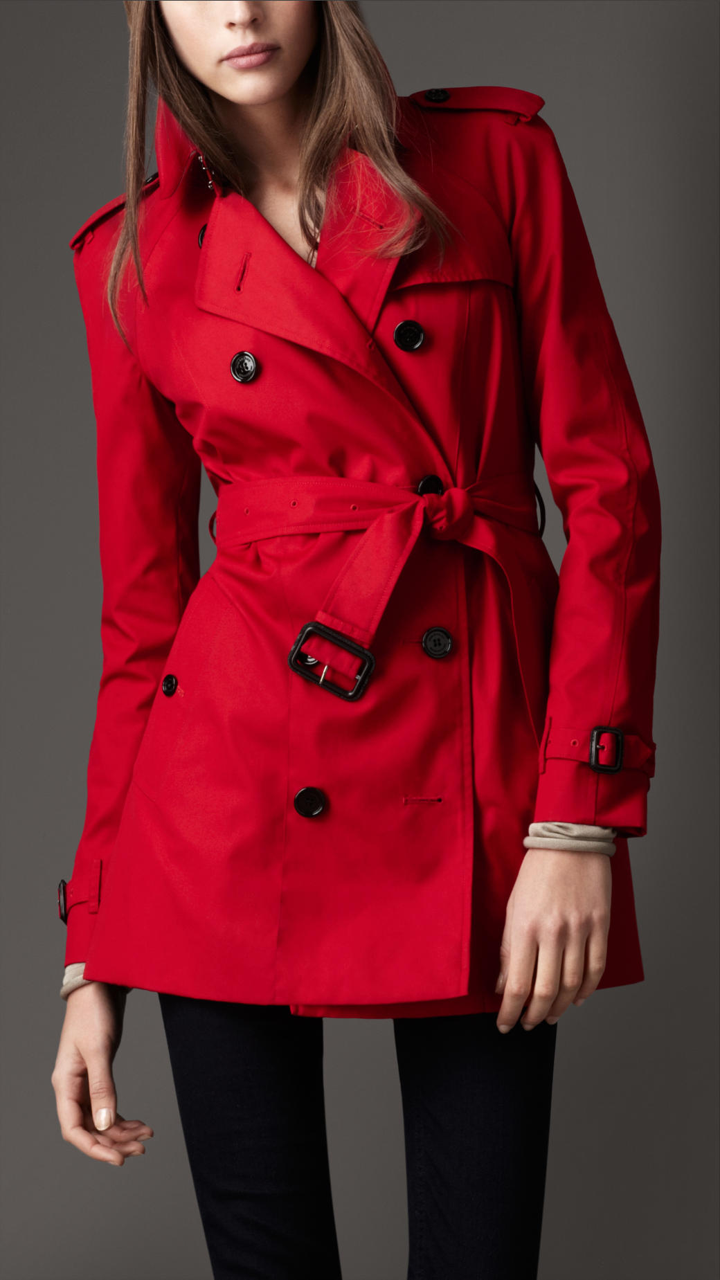 Burberry Short Cotton Blend Heritage Trench Coat in Red | Lyst