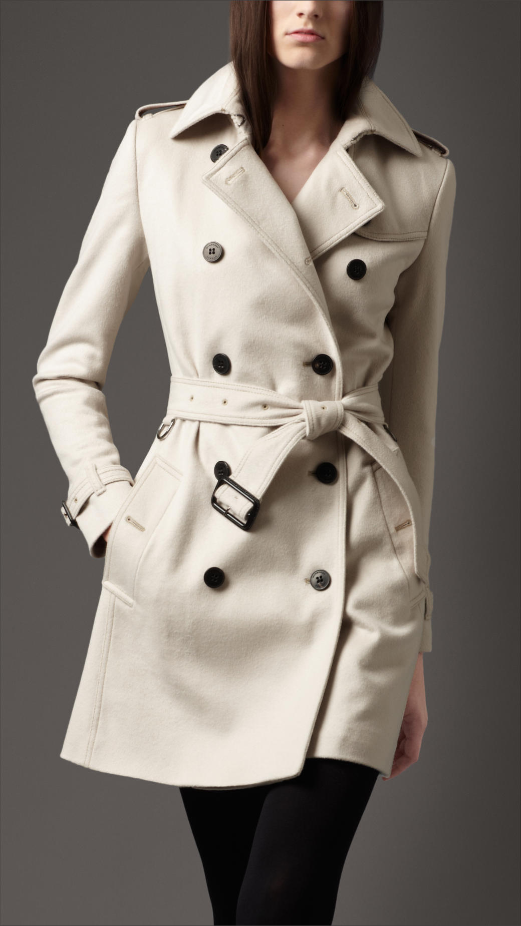 Burberry Wool Cashmere Trench Coat in Natural | Lyst